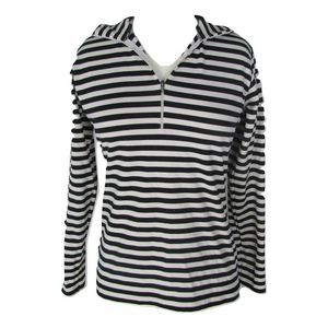 Ellen Tracy P Black/White Stripe 1/2 Zip L/S Top